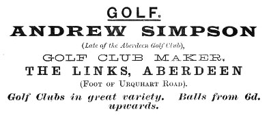 Advertisement for Andrew Simpson, clubmaker