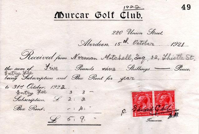 Murcar membership certificate