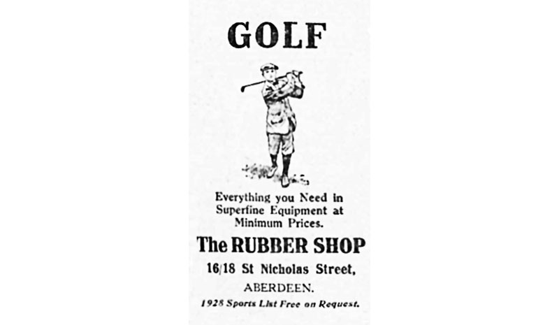 Logo of The Rubber Shop in the 1920s